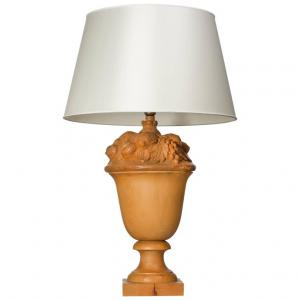 Lampada toscana da tavolo in legno