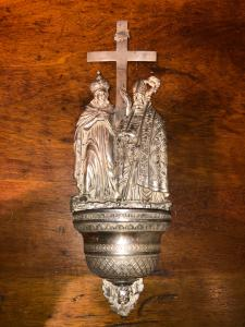 Embossed silver holy water stoup depicting San Macario bishop and Sant'Elena. Punch Lombardo Veneto.