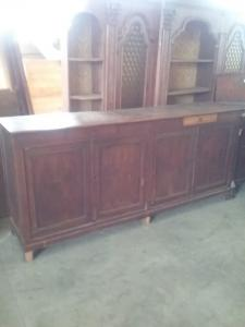 Sideboard 4 doors 2 drawers in walnut l235xp50 h110 always in its original patina before 19th century guarantee terms of the law