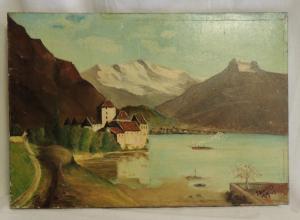 Dipinto a olio su tela, paesaggio con lago, cm 38,5 x 55