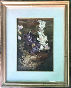 Dipinto olio su tela raffigurante dei fiori.