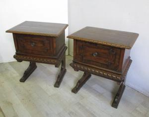 Pair of walnut bedside tables - Renaissance - flap door - early 900 cabinets