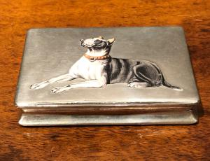 Silver and enamel cigarette case with dog figure.Italy.