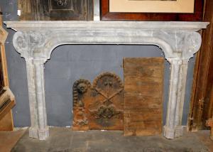 chm513 chimenea italiana del siglo XVIII, mármol bardiglio gris, cm 190 xh 122