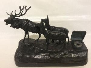 """K.Csadek(19-20世纪)青铜""""鹿群"""""""