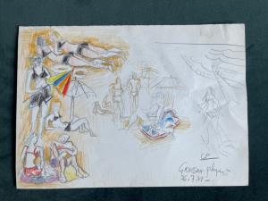 Drawing sketch in pastel on cardboard with characters on the beach.Author: Gabriel Paris (1924-2000) .France