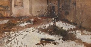 """""""Innenraum eines Innenhofs, Mailand"""" Öl auf Leinwand aus dem frühen 20. Jahrhundert, """"Innenraum eines Innenhofs, Mailand"""" Öl auf Leinwand, frühes 20. Jahrhundert"""