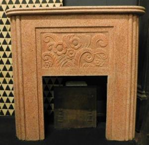 chp316-粉红色水泥壁炉,年龄1940,尺寸110厘米和104小时