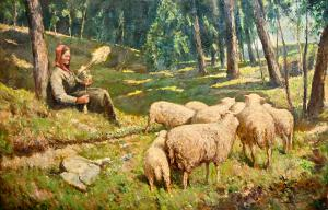 Óleo sobre lienzo de Alberto Cecconi, década de 1940, Óleo sobre lienzo de Alberto Cecconi, década de 1940