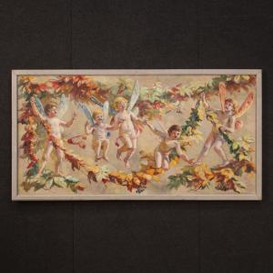 Dipinto italiano Naif giochi di bimbi alati olio su tela