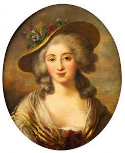 Ovale Malerei mit Frauenporträt - O / 5300 -