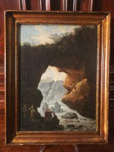 Великолепный холст, масло, раф. сцена у водопадов Тиволи - конец 17 века