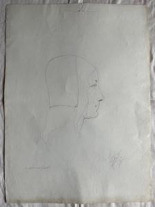 Pencil drawing on paper, Renaissance woman's face.Federico Pietra.Bologna. 1910.