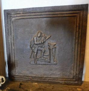 P176 cast iron plate, depicted man with violin, 45 cm x45