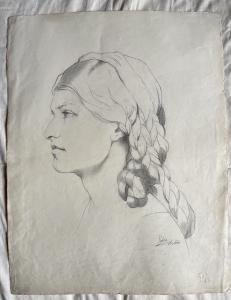 Dibujo a lápiz sobre papel, perfil de una mujer renacentista, Arturo Pietra, Bolonia.
