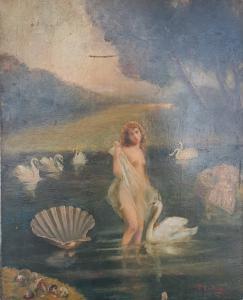 Landschaft mit nackter Frau, weißen Schwänen und Steinpilzen