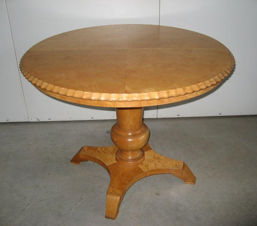 Tavolo tondo in legno di betulla allungabile epoca inizi for Tavolo tondo legno