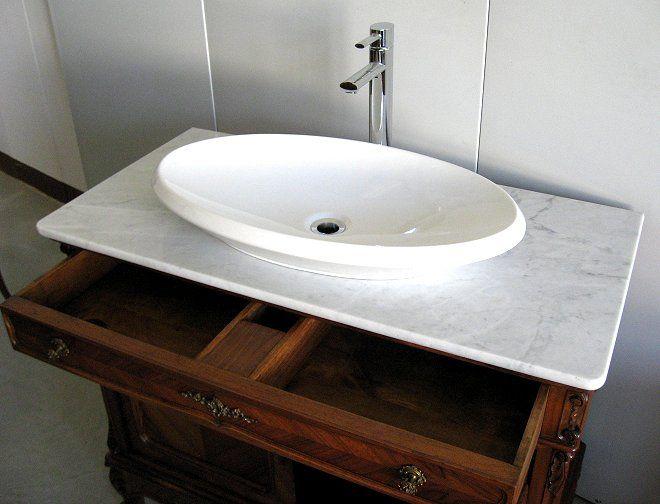 Mobile bagno in noce con lavabo inizi art