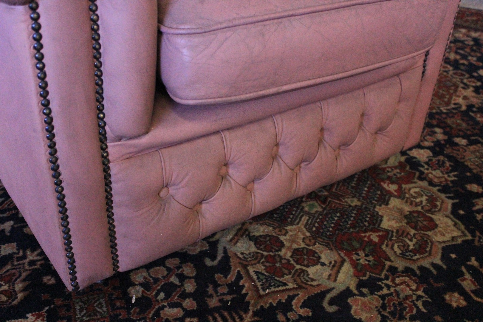 Original Chesterfield Sessel Made In Uk Clubmodell In Rosa Leder