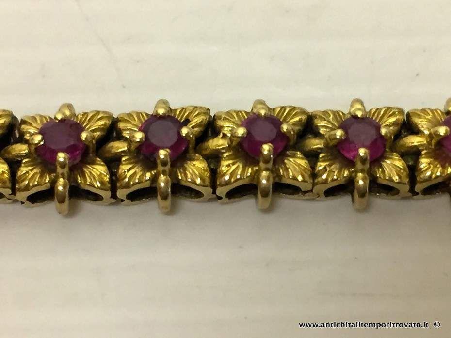 thumb5|Bracciale in oro primi 900 con 33 fiori con rubini