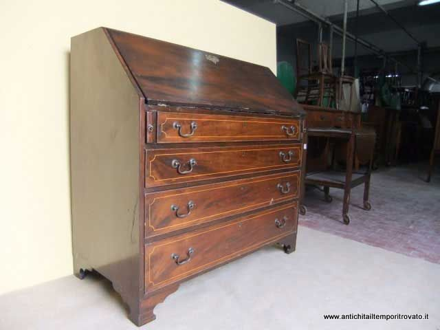 Old english bureau in solid wood and mahogany veneer antiques on