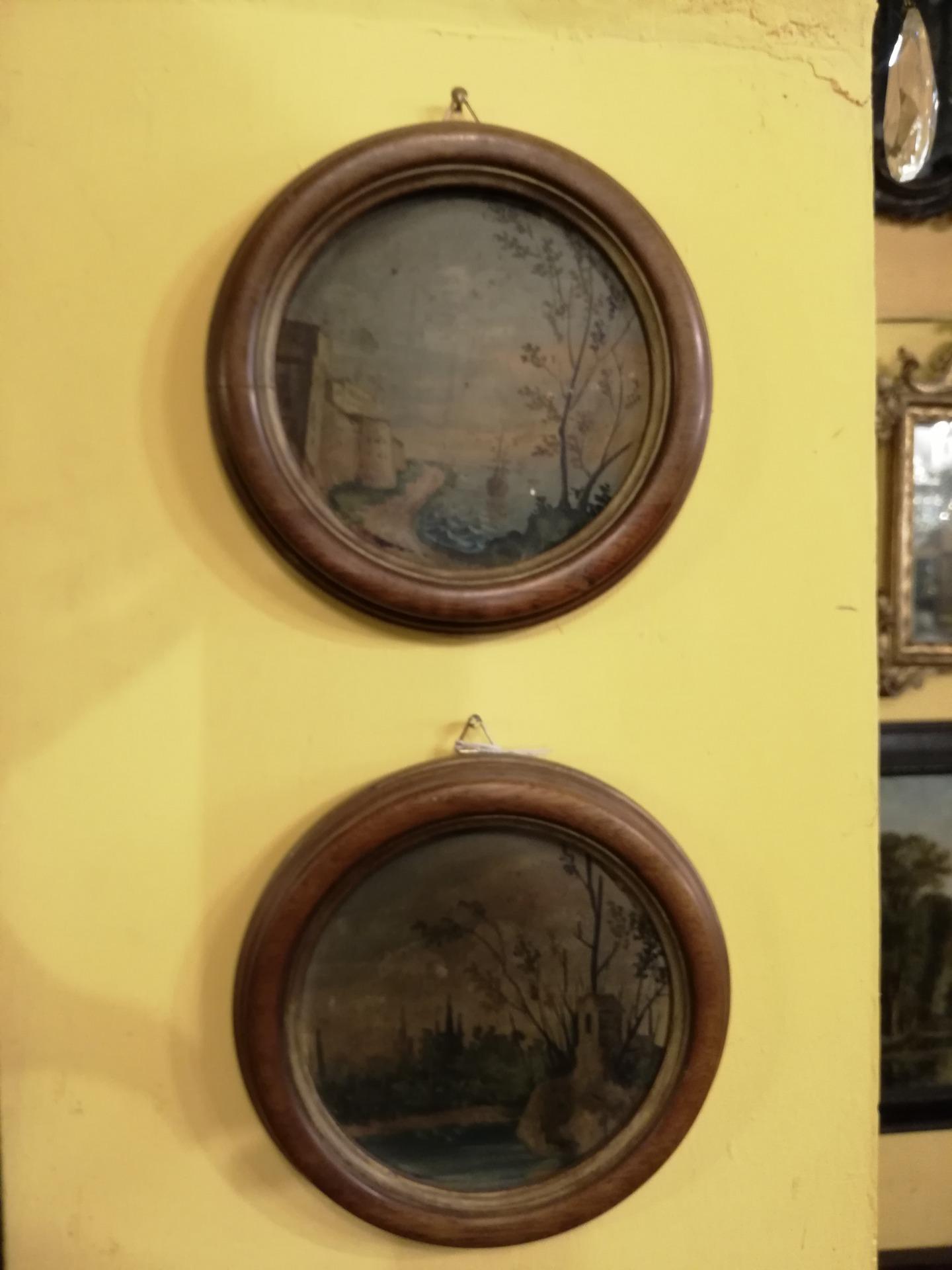 Coppia piccoli paesaggi olio su tavola