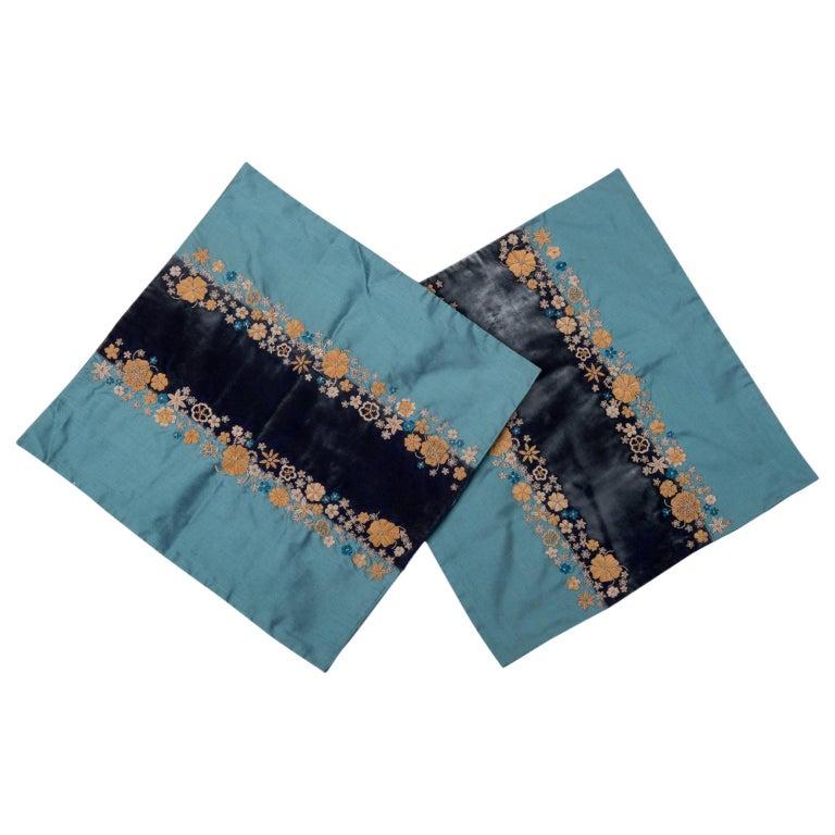 Coppia di ricami in canuttiglia su velluto e seta - B/1828