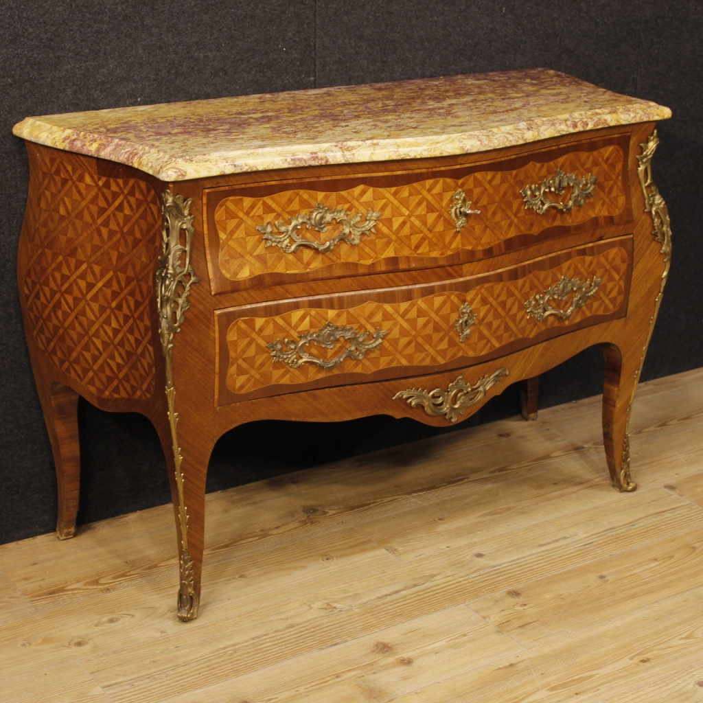 French inlaid dresser in rosewood and mahogany in Louis XV style ...