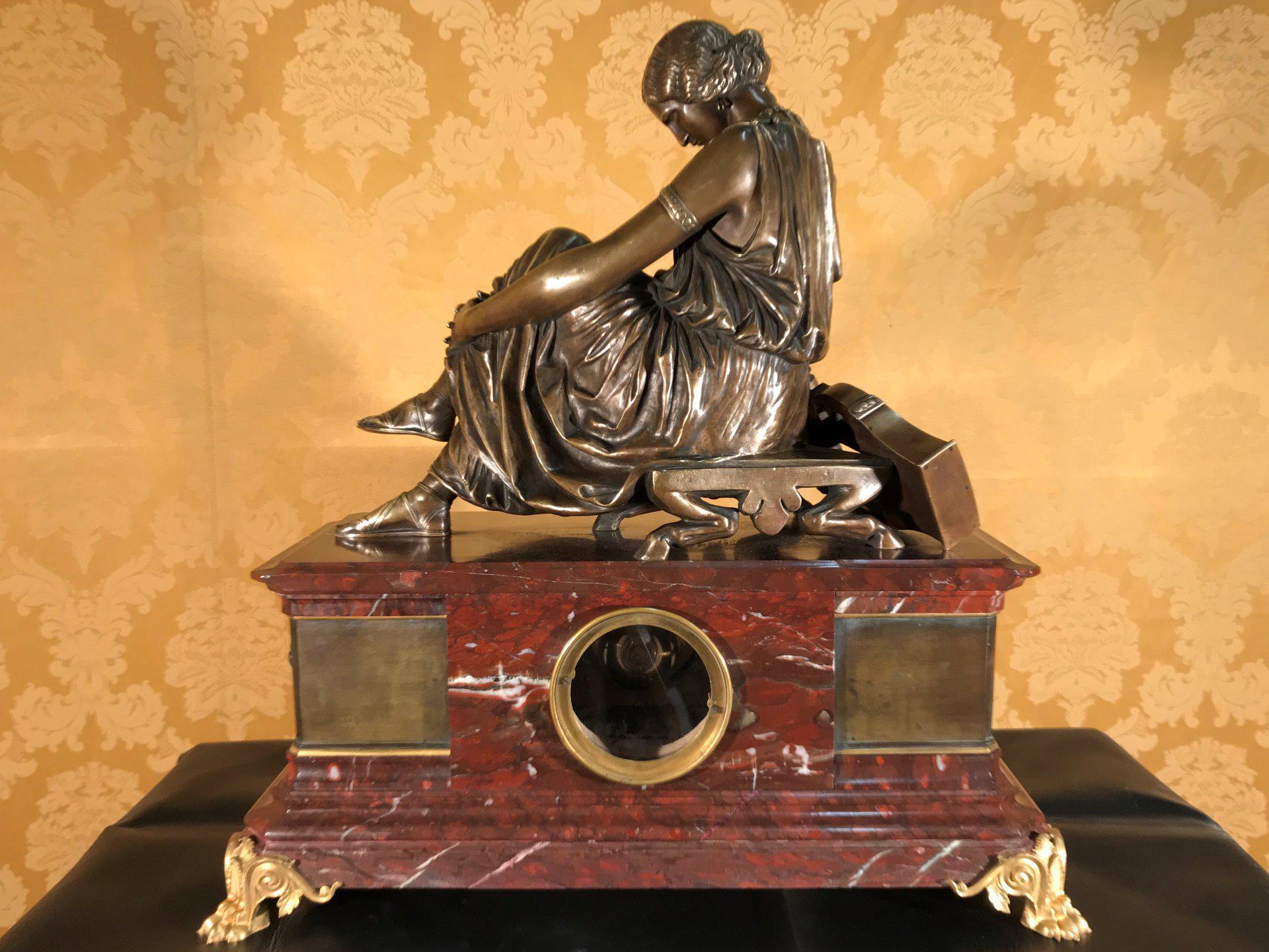 thumb5|Importante orologio a pendolo con marmo e bronzo firmato