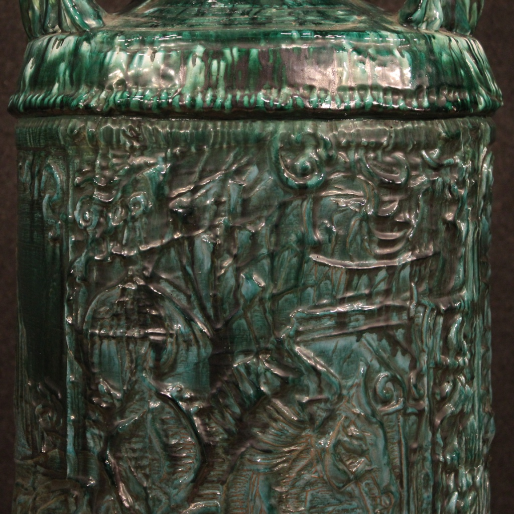 thumb4|Vaso italiano in terracotta smaltata verde