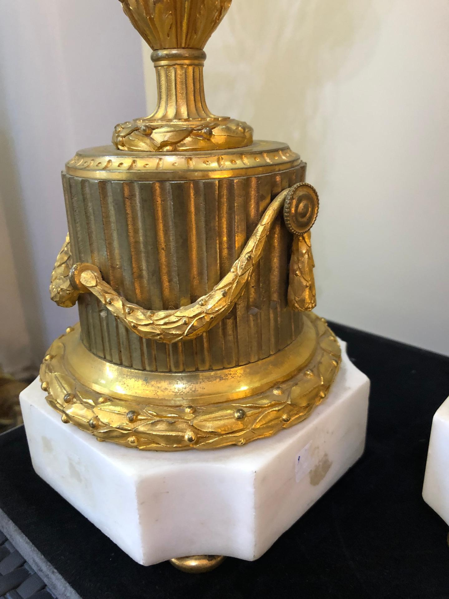 thumb6|Coppia di candelabri in bronzo dorato Francia XIX sec.