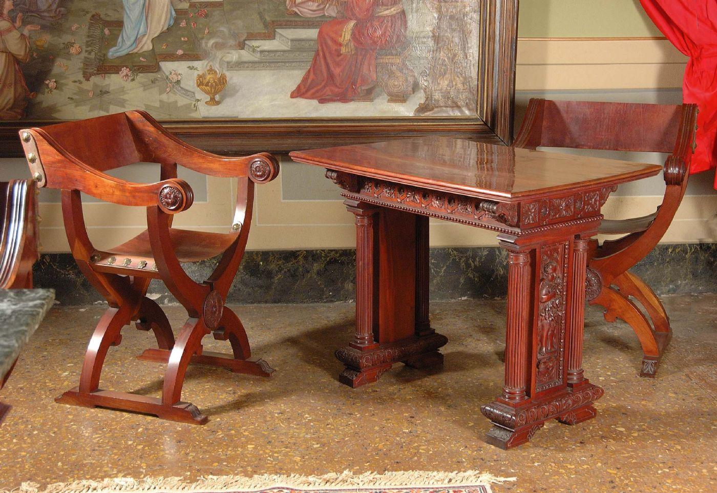 Otto sedie alla dantesca in mogano maestro gioacchino - Savonarola sedia ...