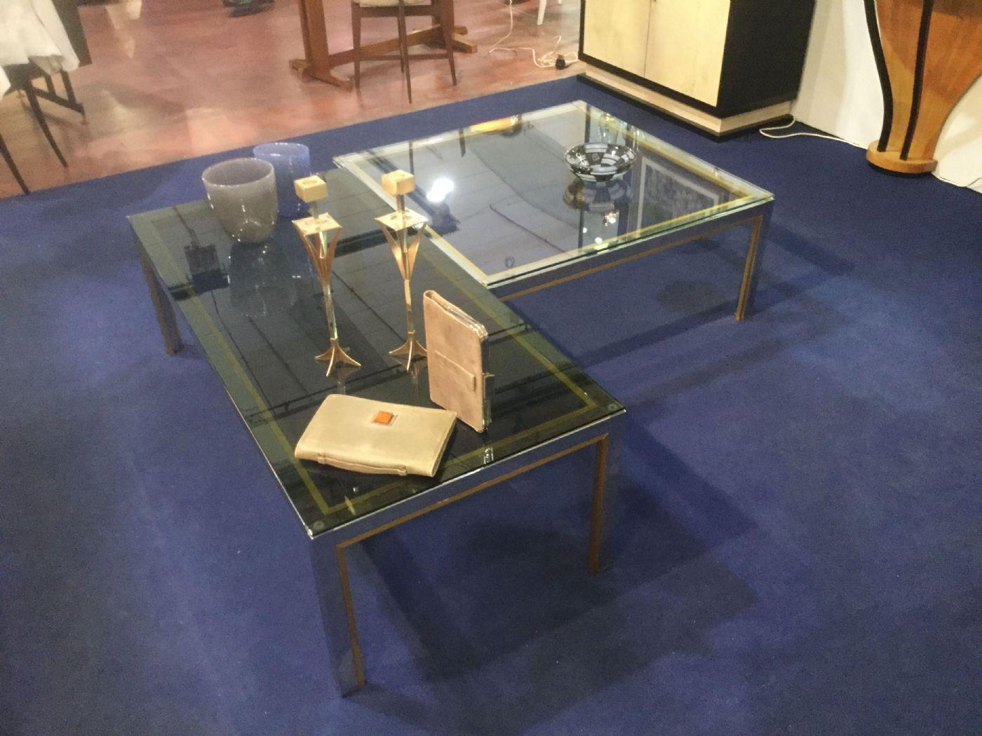 Coppia tavolini metallo ottone e vetro anni 70 manifattura - Tavolini vetro e ottone ...