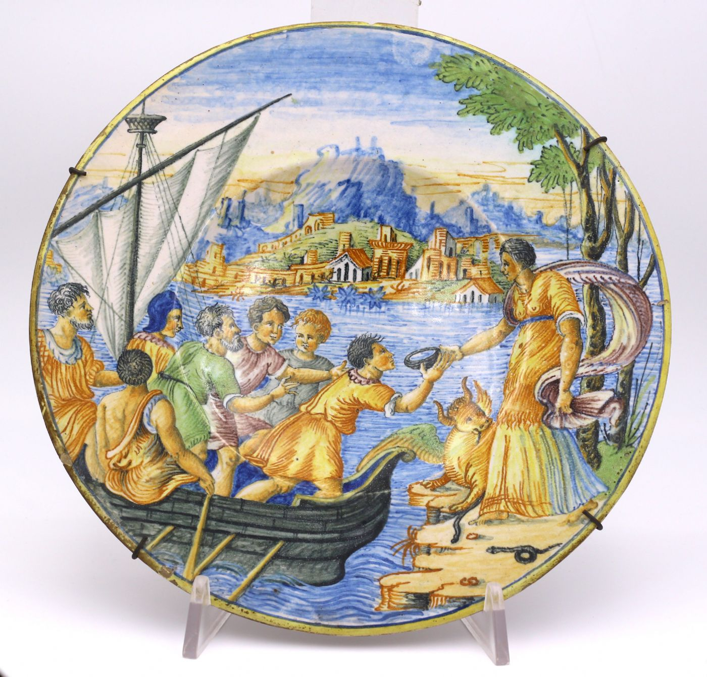 Piatto in ceramica Castelli , XIX secolo.   Antiquariato su Anticoantico