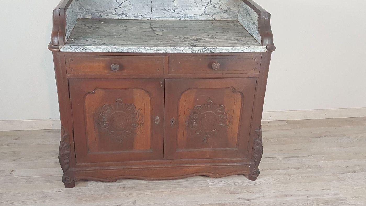 Credenza Con Piano In Marmo : Credenza toilette antica luigi filippo con marmo in noce metà