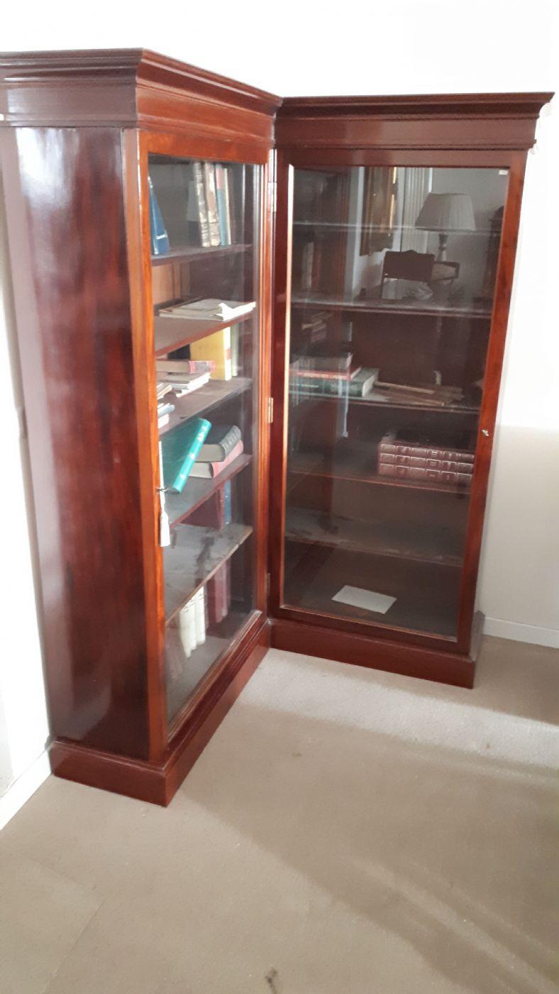 Libreria Angolare.Libreria Angolare In Mogano E Piuma Di Mogano Antiquariato Su