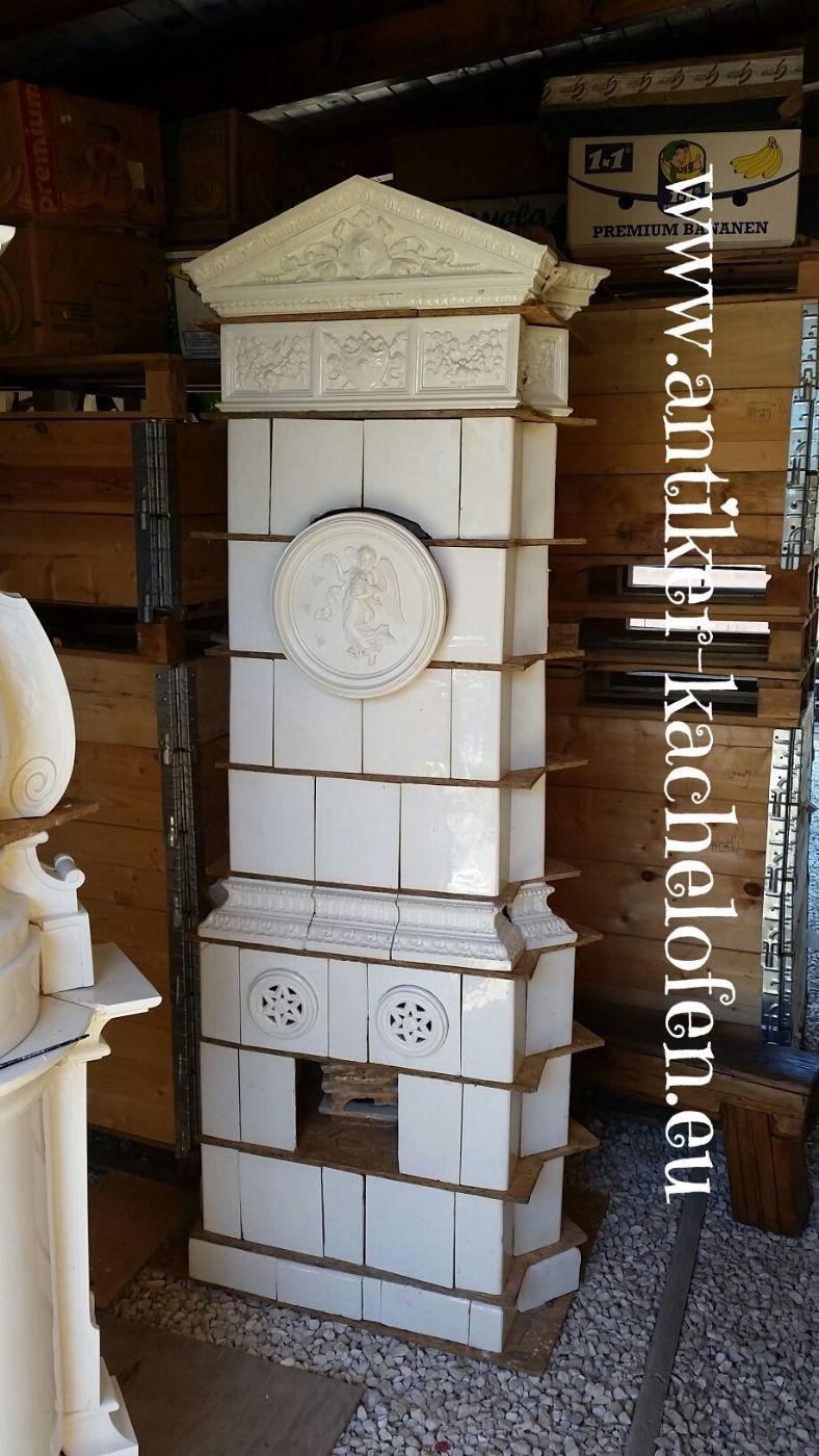 Stufa antica bianca angolo, secolo 19, Hardmuth