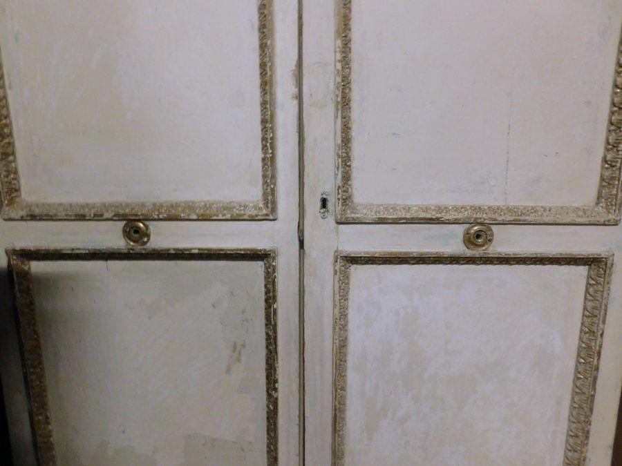 thumb4|ptl487  porta laccata bianca con cornici dorate, mis. cm 126 x h 262