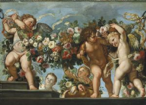 "Carlo Maratta and Franz Werner Von Tamm ""Putti with flower garlands""."