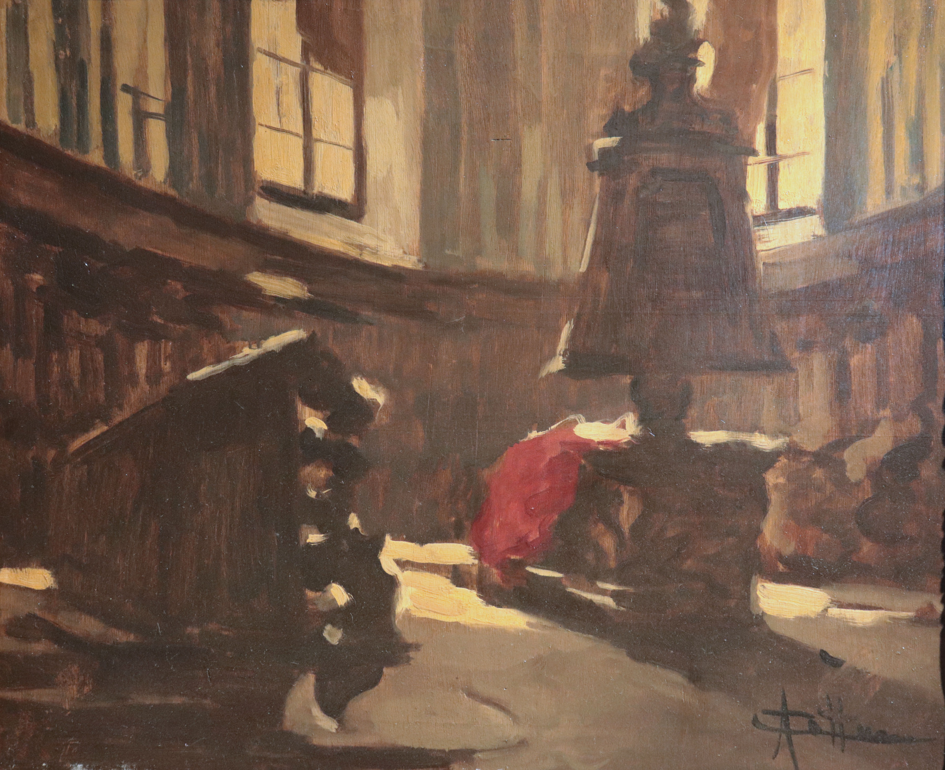 thumb2|Cattaneo Achille (Milano 1872-1931) - Interno di chiesa
