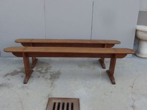 N.2 BENCHES IN CHERRY WOOD AGE 800 Dimensions: cm L194xP20xH49