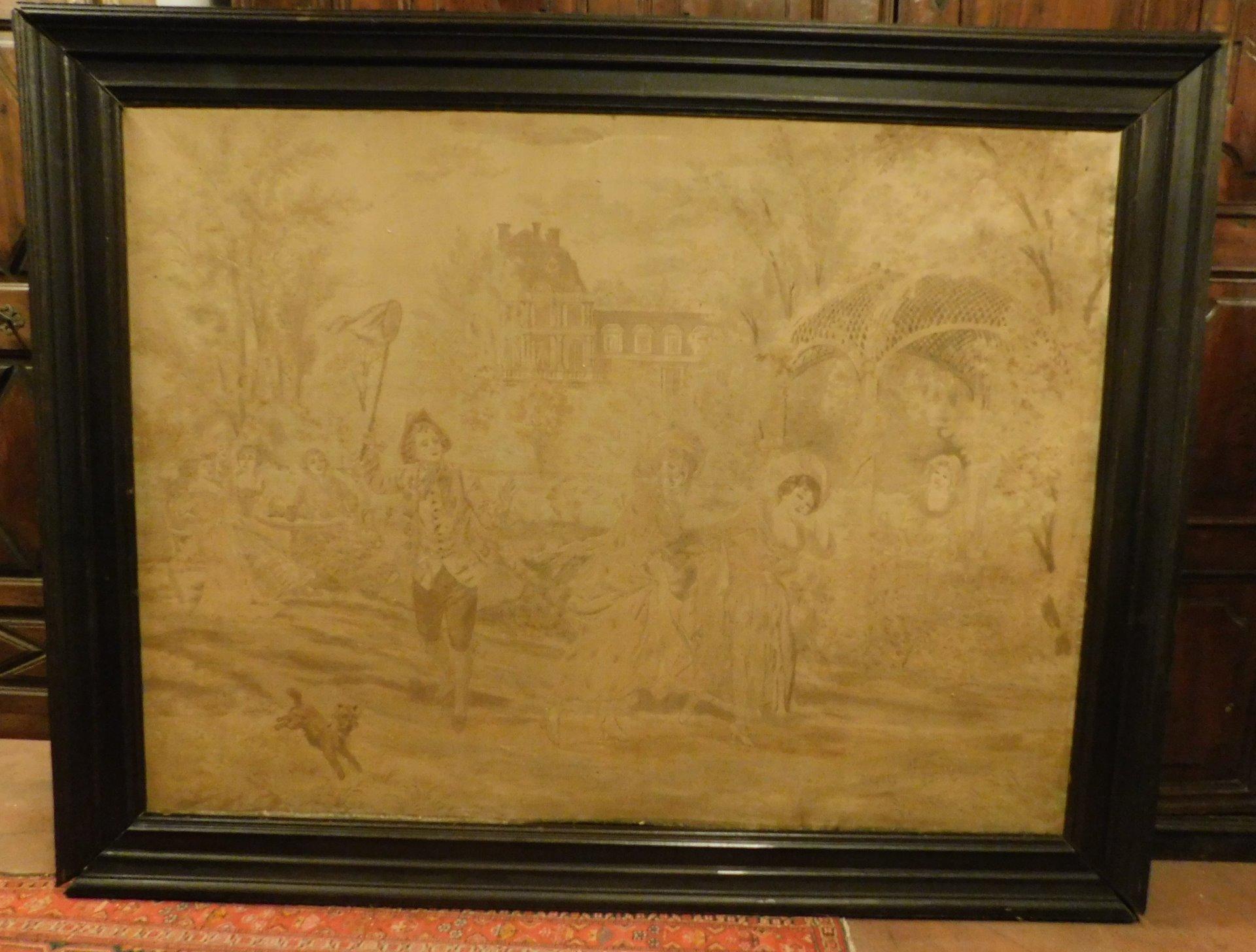 pan223 - arazzo, epoca '800, mis.  con cornice cm 235 x h 183