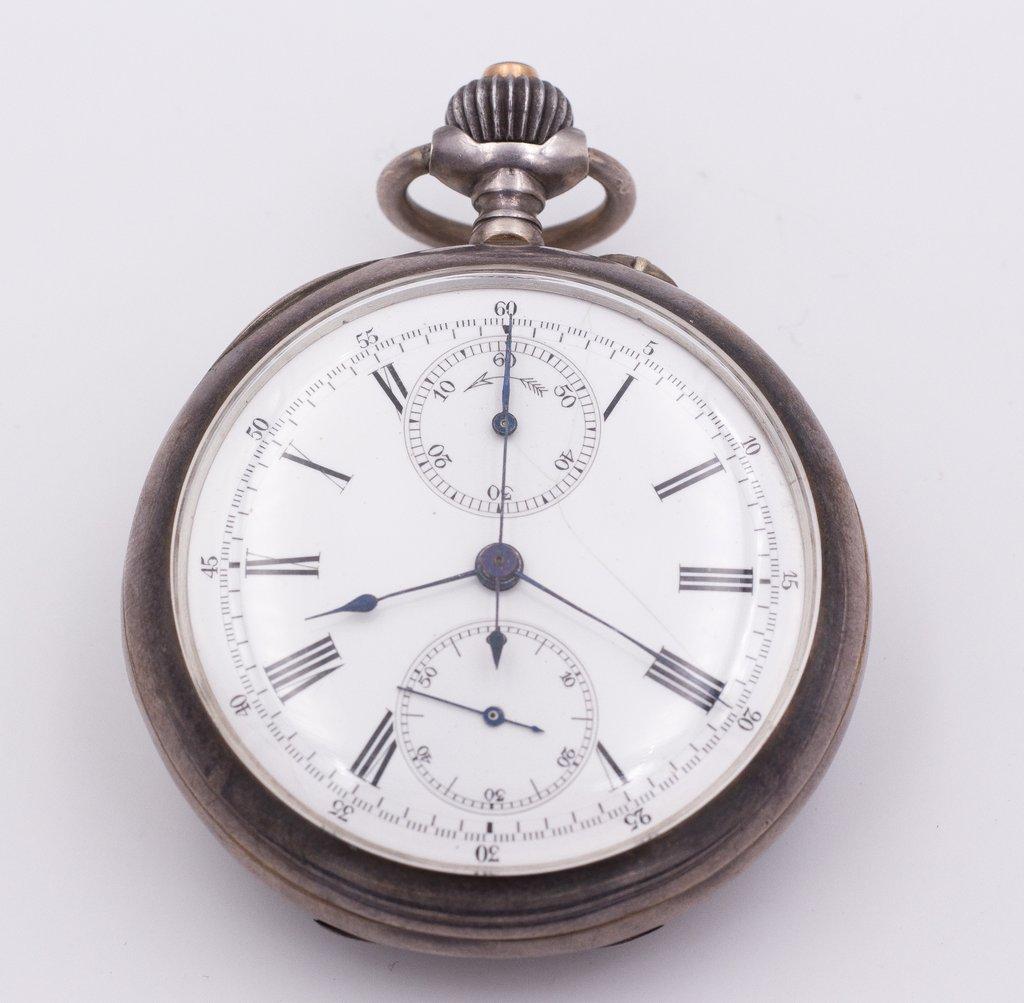 Cronografo da tasca in argento fine '800