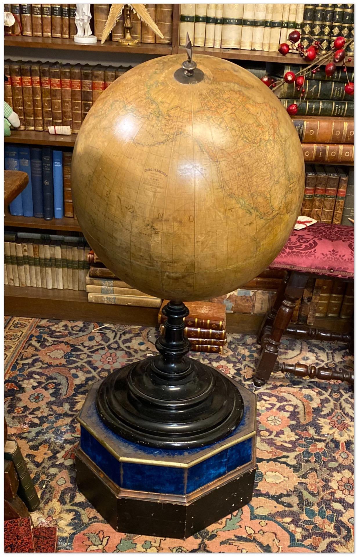 Globo terrestre italiano alto cm. 90 - datato 1890