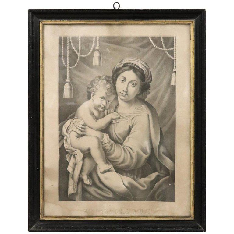 Antica Litografia Madonna dell'Aiuto secolo XIX PREZZO TRATTABILE