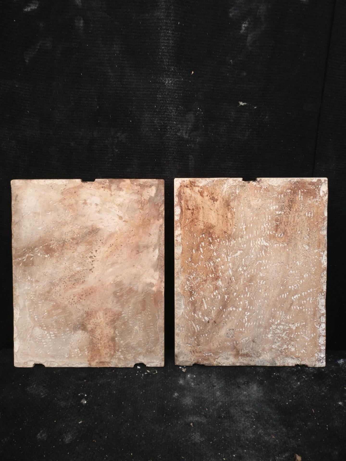 thumb10 Magnifica Coppia di Fasci Littori in Travertino - Stemmi da muro - 32 x 40 cm - Roma - 1927/28