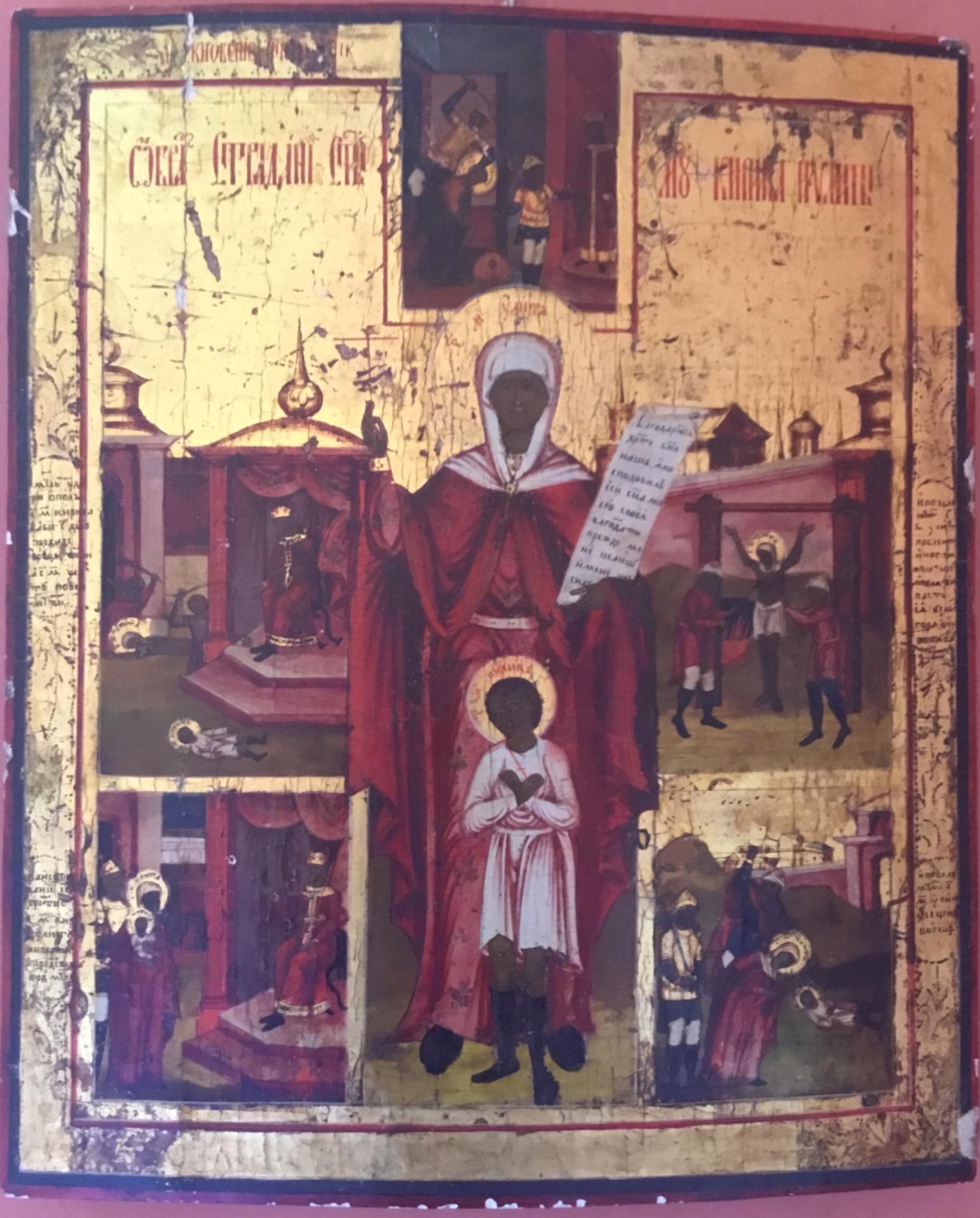Antica icona raffigurante vita di un santo