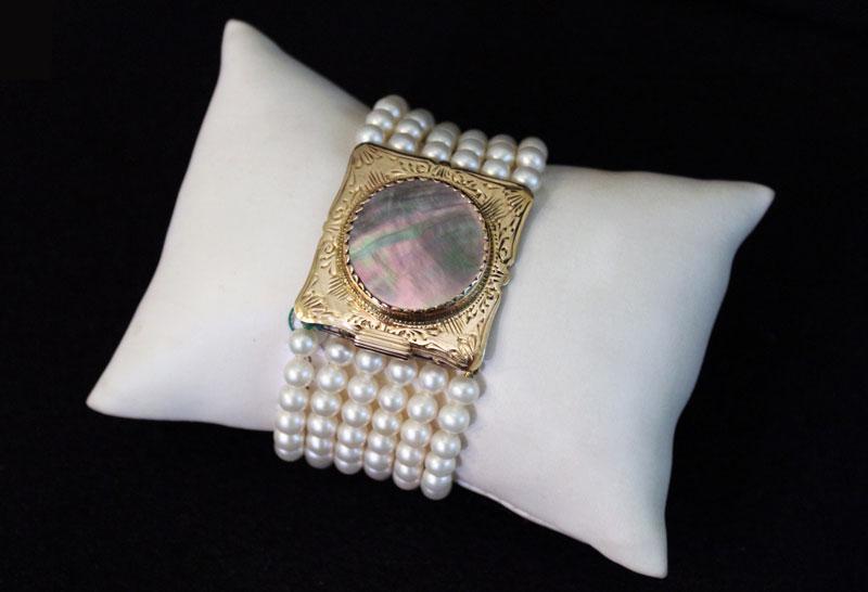 thumb3 Collana e bracciale perle bianche e fermezza in madreperla