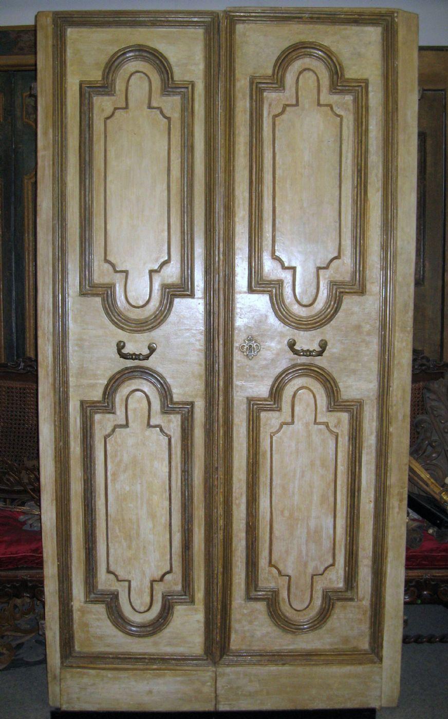 03 porte venete laccate color avorio e decorate con - Porte laccate avorio ...