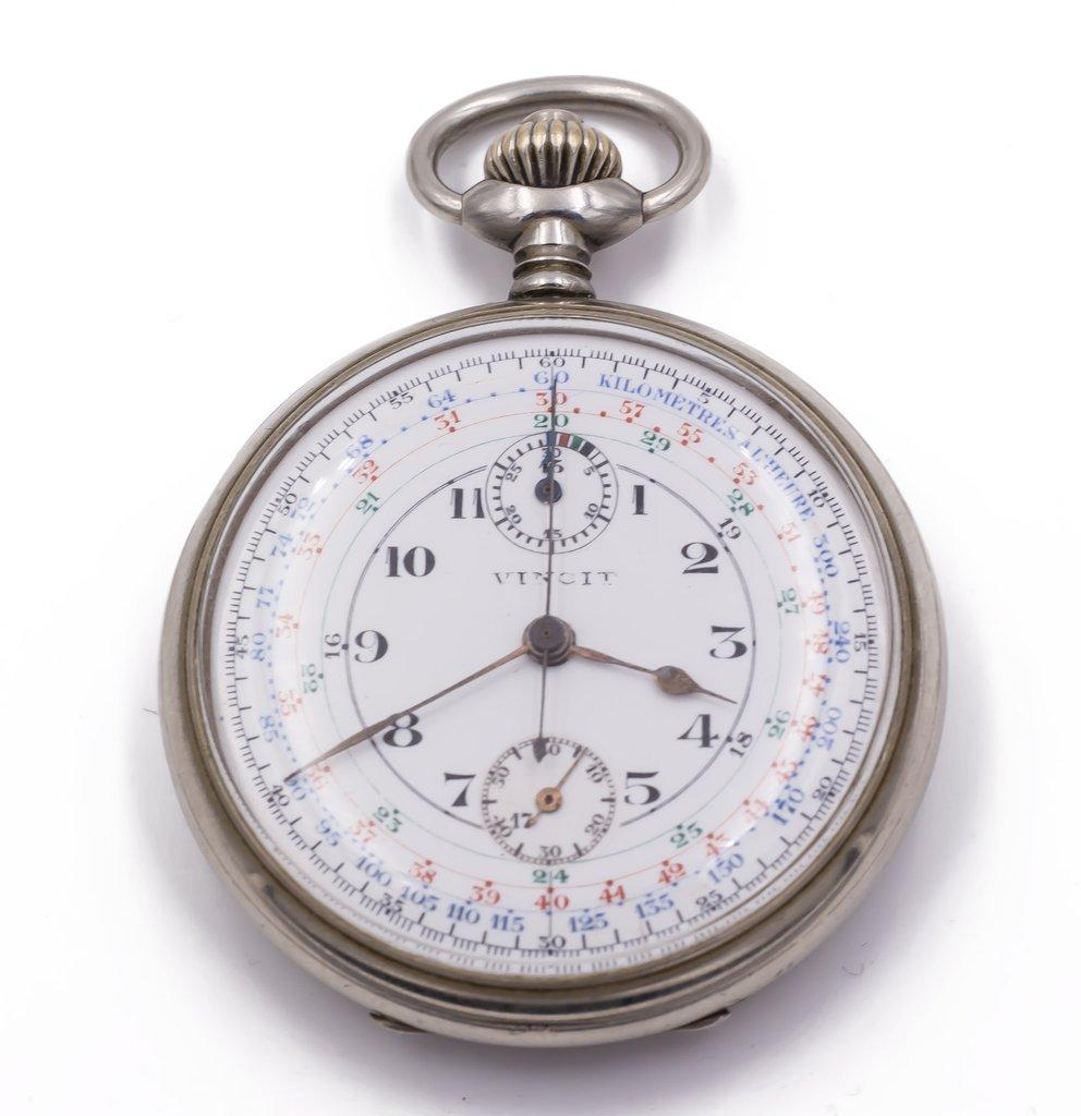 Cronografo da tasca Vincit in argento primi 900